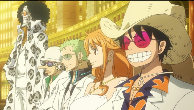 """The Straw Hat Pirates in a scene from """"One Piece Gold"""""""
