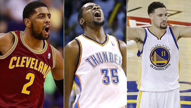 The U.S. men's basketball team for the 2016 Rio Olympics includes (l to r) Kyrie Irving, Kevin Durant and Klay Thompson.