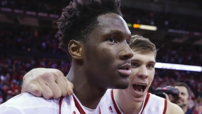 Nigel Hayes (left) and Ethan Happ have struggled from the free-throw line this season.