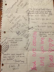 The front page of a note found in the wall of Kavarna Coffeehouse on Broadway in Green Bay. Both sides of the piece of paper were mostly covered with messages of motivation and love.