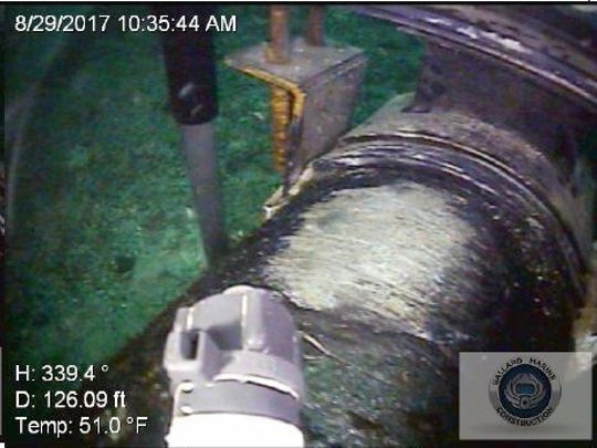 An image from underwater inspections of Line 5 in the