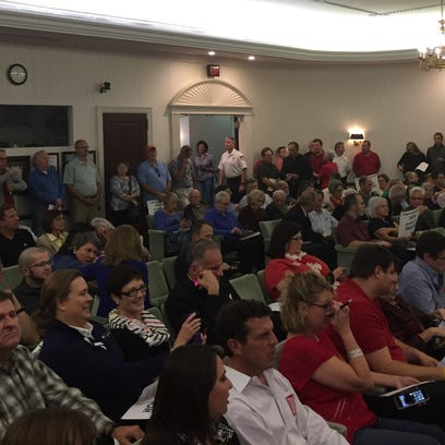 The Carmel City Council chambers were packed Monday.