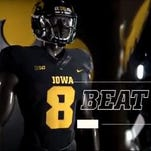 """The original glimpse of the Hawkeye """"Blackout"""" jersey pant leg revealed months ago."""