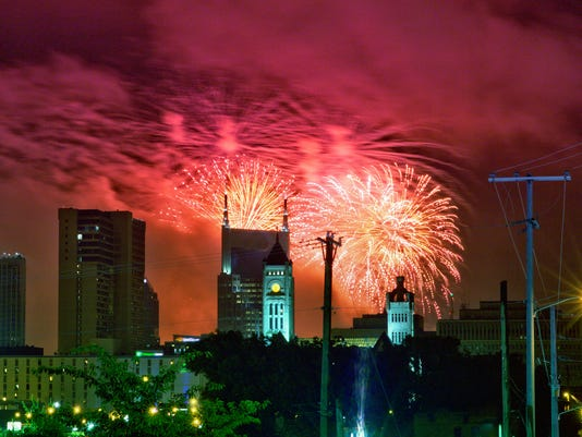 An aerial view of fireworks in Nashville, Tennessee in 2013