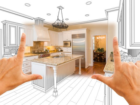 Hands Framing Custom Kitchen Design Drawing and Square Photo Combo