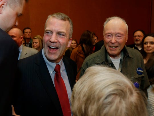 Republican U.S. Senate candidate Dan Sullivan, left,