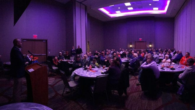 Former University of Evansville star Marcus Wilson spoke at the 'Aces Pregame Party' at the DoubleTree hotel prior to Thursday's home game against Southeast Missouri State.
