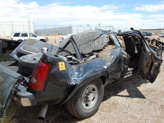 Bryon Castor's 2004 Chevy Silverado was heavily damaged after crashing into the collapsed Tex Wash Bridge on the I-10 freeway at Eagle Mountain Road in Desert Center on July 19, 2015.