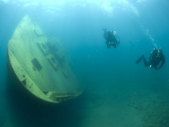 Divers visit the remains of the Nordmeer, a 471-foot German freighter that went down in November 1996 after its crew miscalculated a turn and ran aground.