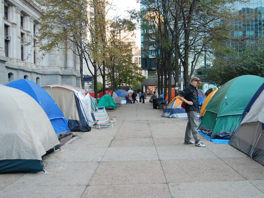 Occupiers at Occupy Philadelphia are camping out in tents in front of City Hall.