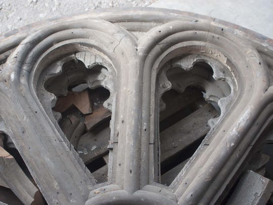 The rosette windows' original frames were made of wood, glue and nail construction, which had deteriorated significantly since originally being installed in 1978.