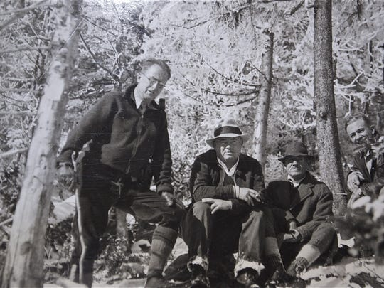 National Park Service landscape architects seen on Jay Peak in October of 1934. Chief architect Laurie Cox, formerly of Bellows Falls, is on the extreme left. Others are, T.C. Vint, second from left, head of the planning division for the National Park Service, John Nolen and George Albrecht. The photo was taken on the slopes of Jay Peak, the northern terminus of the proposed Green Mountain National Park and Parkway in 1934.