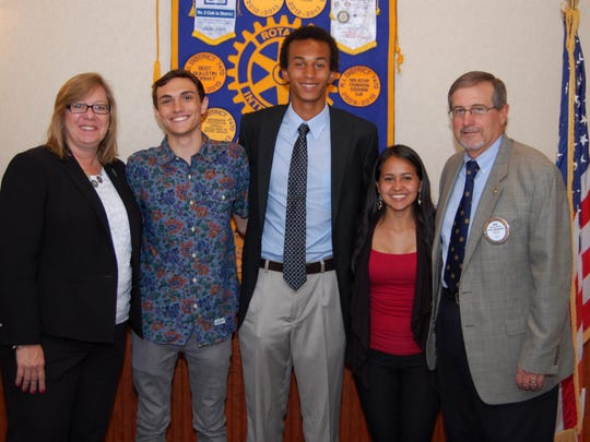 Rotary scholarship committee members Janice Christensen (left) and Rod Seifert (right) presented scholarships to (middle, left to right) Zachary Spada, Shaun Montalto-Rook, and Laura Javela.