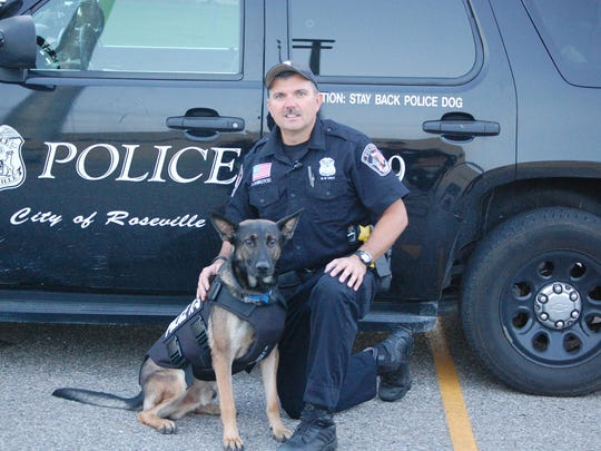 Roseville Police Officer Brian Dobrzycki, with K-9 officer Chase, and other public safety employees in Rosevlle, will be moved into a separate pension system if the city's voters approve Nov. 5.