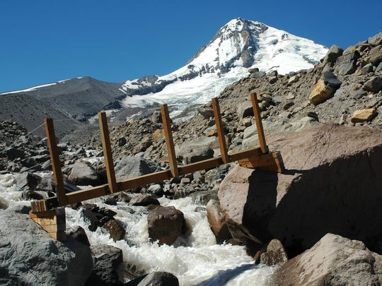 Eliot Branch - old Timberline Trail footbridge before 2006 glacial flood