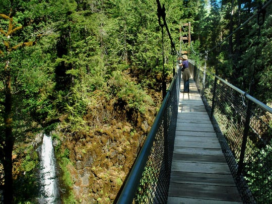 A suspension bridge is on the Drift Creek Falls hike near Lincoln City.