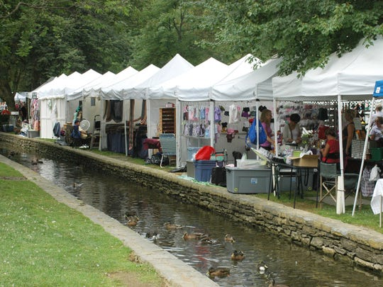 A craft show in Lititz Spring Park, home to many ducklings.