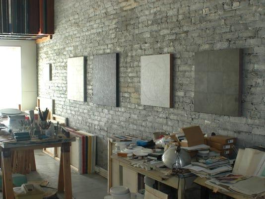 Several paintings by Privoznik hang in his studio