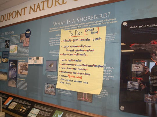"""Volunteers helping to prepare for the April 1 reopening of the DuPont Nature Center near Slaughter Beach kept track of the tasks with """"To Do"""" lists."""