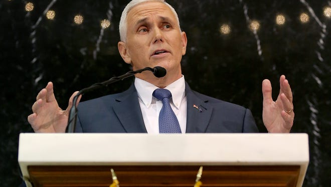Gov. Mike Pence delivers his State of the State address Tuesday, Jan 12, 2016, in the House chambers of the Indiana Statehouse.