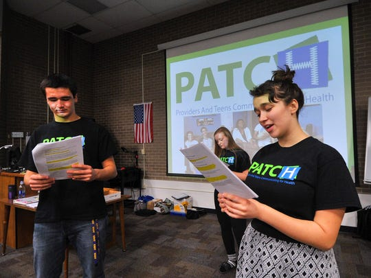 Teen educators Oliver Soler, left, Gracie De Broux, and Eliette Soler, perform a short skit during a PATCH program to provide health information and tips Wednesday afternoon at Wausau West High School.