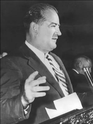 Sen. Joe McCarthy giving a public address in 1954.