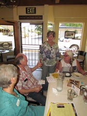 Left to right, Kelly Schreiber, Paul Toews, Linda Sunderland and Rese Bourdeau during Canyon Conversations Sept. 14 at Moxieberry in downtown Stayton.