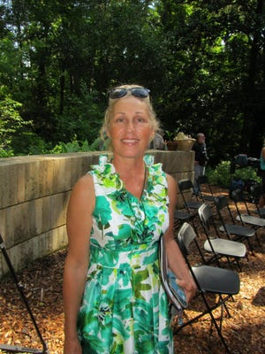 Deborah Desilets is a Tallahassee architect involved in numerous art and history projects. She is shown here at the press conference for the Spring House's listing on the 11 most endangered historic sites in 2014. She will be speaking about mosaics on Saturday at the Martin House.