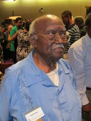 """Eddie Barrington, who served on the executive board of the Inter-Civic Council at the start of the bus boycott in 1956, attending a tribute to """"foot soldiers"""" in 2013 at City Hall."""