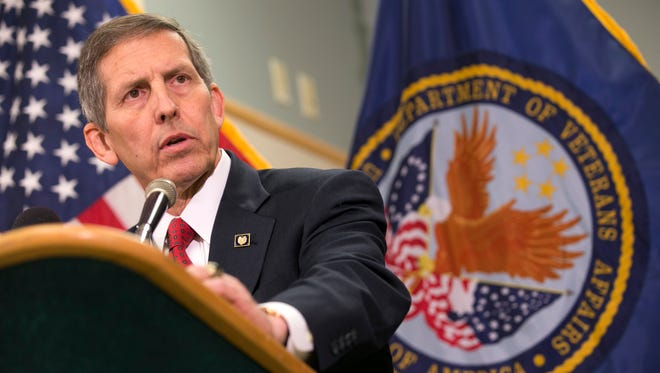 Acting Secretary of Veterans Affairs Sloan Gibson speaks during a press conference at the Carl T. Hayden VA Medical Center in Phoenix on June 5. 2014.
