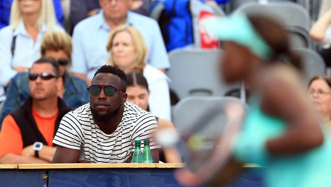 Jozy Altidore watches Sloane Stephens play during a tournament in Toronto in July.