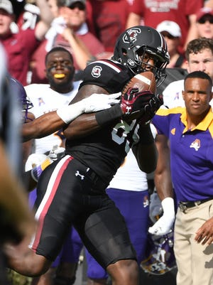 University of South Carolina receiver Bryan Edwards catches a pass during a game against East Carolina University on Saturday, September 17, 2017.