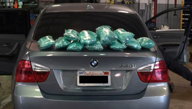 "In separate weekend stops, MHP seized about 19 pounds of ""ice,"" ten packages of high-grade marijuana, 1.1 pounds of cocaine, 9.3 ounces of heroin and nearly $1,000 cash."