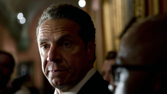 Gov. Andrew Cuomo New York Gov. Andrew Cuomo talks to media members outside his office at the state Capitol on Tuesday, May 24, 2016, in Albany, N.Y. (AP Photo/Mike Groll)