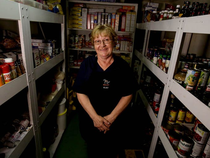 Kay Meader, 65 the head cook makes meals for the crew