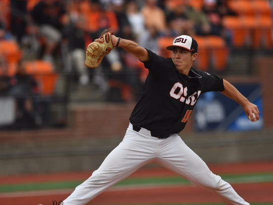 Oregon State's Luke Heimlich pitches against Minnesota in Game 1 of the Corvallis Super Regional at Goss Stadium. He recorded his 16th win of the season as the Beavers won 8-1 on June 8, 2018.