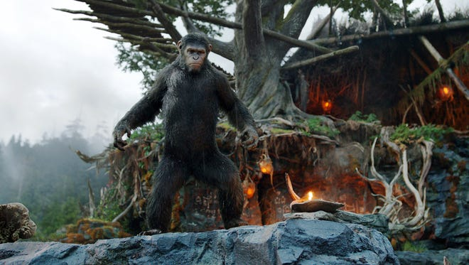 "Andy Serkis as Caesar in a scene from the film, ""Dawn of the Planet of the Apes."""