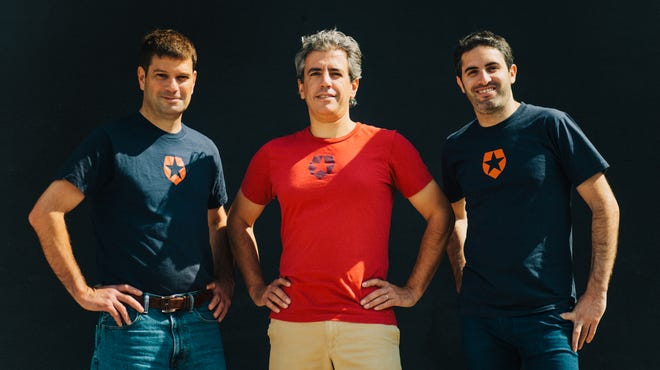 Auth0 CEO Jon Gelsey, left, with co-founders Eugenio Pace, center, and Matias Woloski. The Seattle start-up's product is cloud-based authentication and security technology for Web and mobile app developers.
