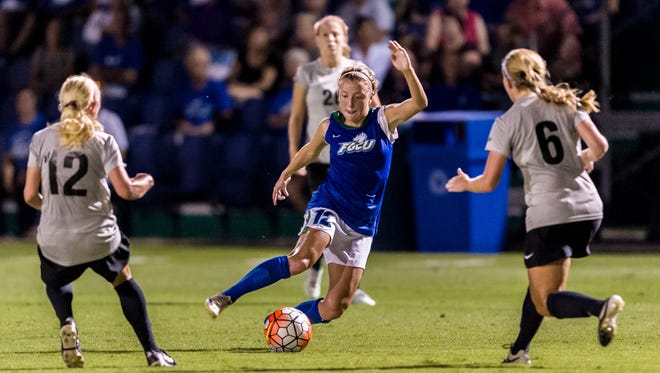 FGCU senior Ally Kasun, competing against USC Upstate on Oct. 9, is only the second player in A-Sun history to earn first-team league honors for four seasons.