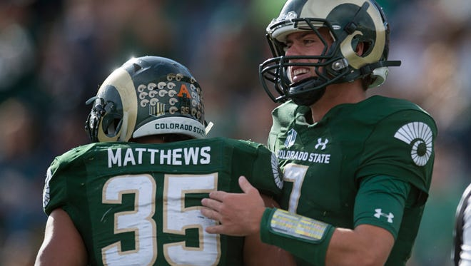 CSU quarterback Nick Stevens celebrates with running back Izzy Matthews after a touchdown in a game against Fresno State at Hughes Stadium Saturday, November 5, 2016.