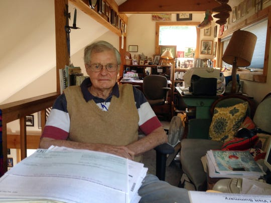 Malcolm Bell This Aug. 6, 2014 photo shows Malcolm Bell, a retired lawyer, at his home in Weston, VT. The whistleblower who spurred a major state investigation of alleged crimes and cover-ups at Attica prison is still on the case four decades later. (AP Photo/Michael Virtanen)