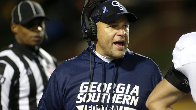 Georgia Southern head coach Chad Lunsford speaks to his players during a break in action against Appalachian State on Oct. 31, 2019, in Boone, N.C. The teams are scheduled to play on Oct. 14, 2020 in Statesboro in a game nationally televised on ESPN2 at a time to be announced.