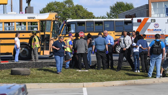 An Anderson School District Five bus and a pickup truck were involved in an accident at the intersection of state highway 28 bypass and state highway 24 in Anderson on Monday. Five were taken by ambulance with non-life threatening injuries and the driver of the truck was not seriously injured.
