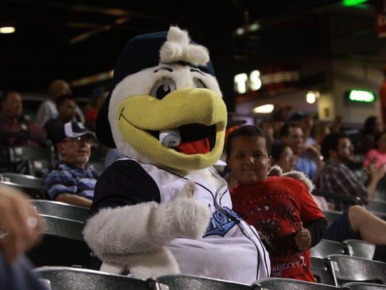 Corpus Christi Hooks mascot Sammy the Seagull (left)