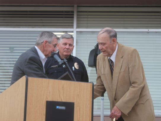 Pictured: Dale Janway, Chief Kent Waller and Roque