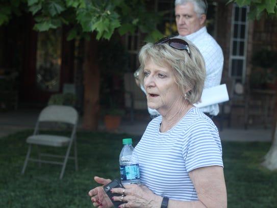 Eddy County Commissioner Stella Davis addresses a group