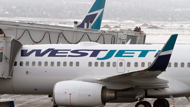 WesJjet Airlines planes at Calgary Airport on Feb. 16, 2010.