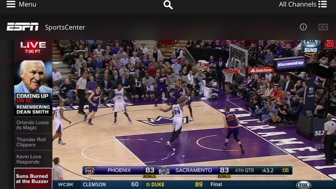 A screenshot of the new Sling TV service on a tablet showing ESPN's SportCenter.
