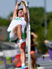 Garrett Stephens of Wall High School pole vaults during the Region I-3A Track and Field Meet at Abilene Christian University on Friday April 27, 2018.