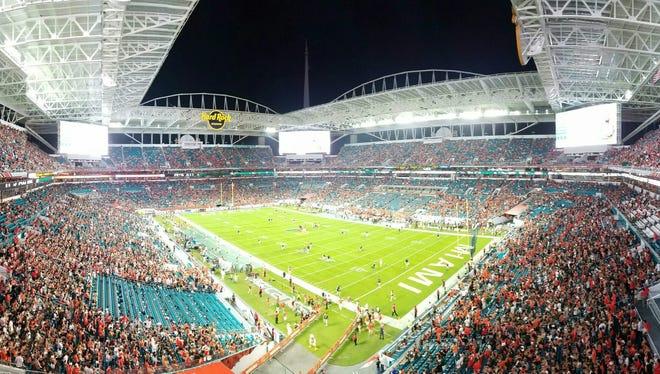 Scene from the Hard Rock Stadium for the UM v. FSU game last Saturday, October 8.